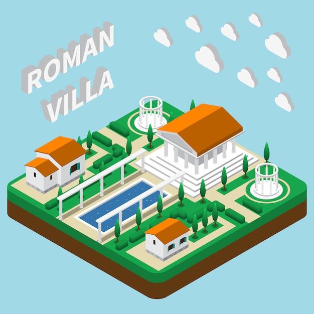 Villa romana isométrica Vetor grátis
