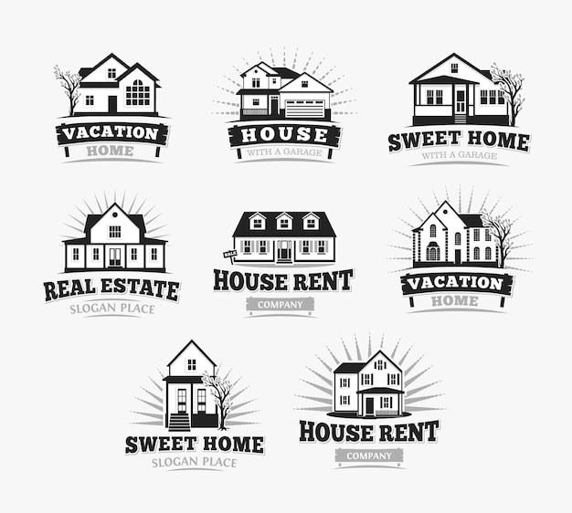 Villas, arquitetura clássica de casa de aldeia americana. modelo de logotipo. Vetor Premium