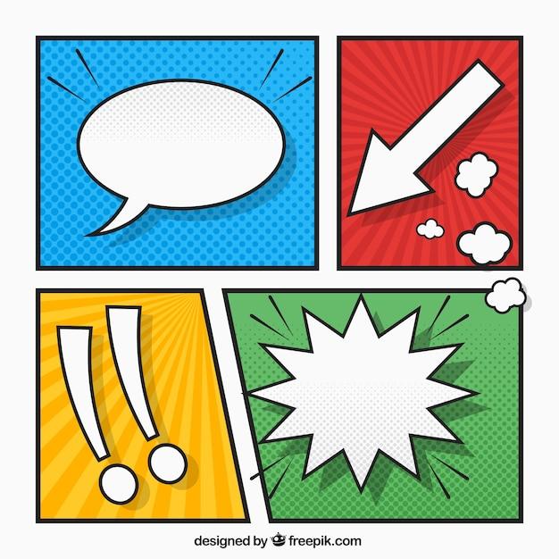 Vinhetas coloridas ajustaram-se com sinais e balão de fala em quadrinhos Vetor grátis
