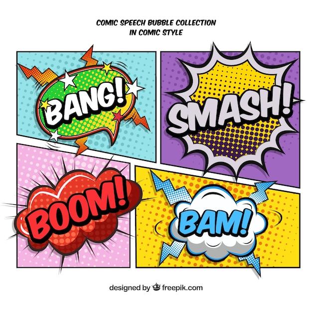 Vinhetas em quadrinhos criados com onomatopéias Vetor grátis