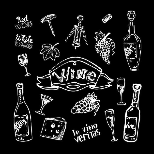 Vinho definido no quadro-negro Vetor grátis