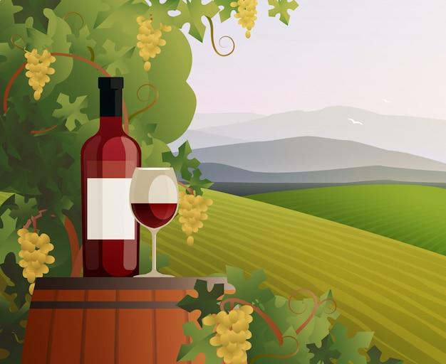 Vinho e vinha Vetor grátis
