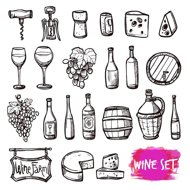 Vinho preto doodle conjunto de ícones Vetor grátis