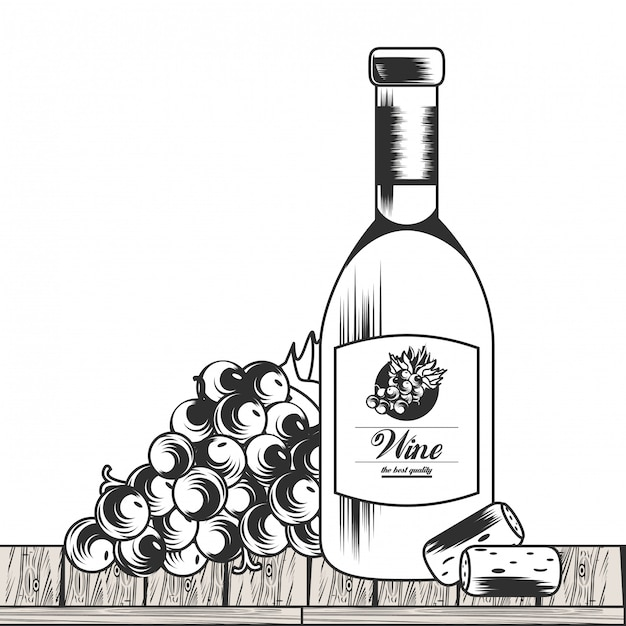 Vinho preto e branco desenho Vetor Premium