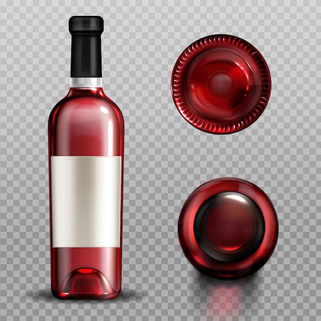 Vinho tinto em garrafa de vidro vista superior e inferior Vetor grátis