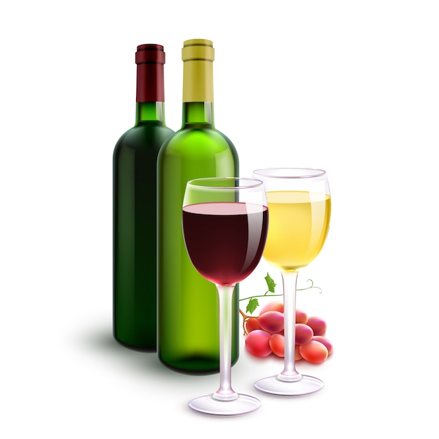 Vinhos tintos e brancos Vetor grátis