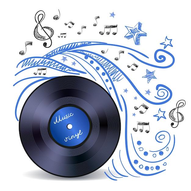 Vinil música doodle Vetor grátis