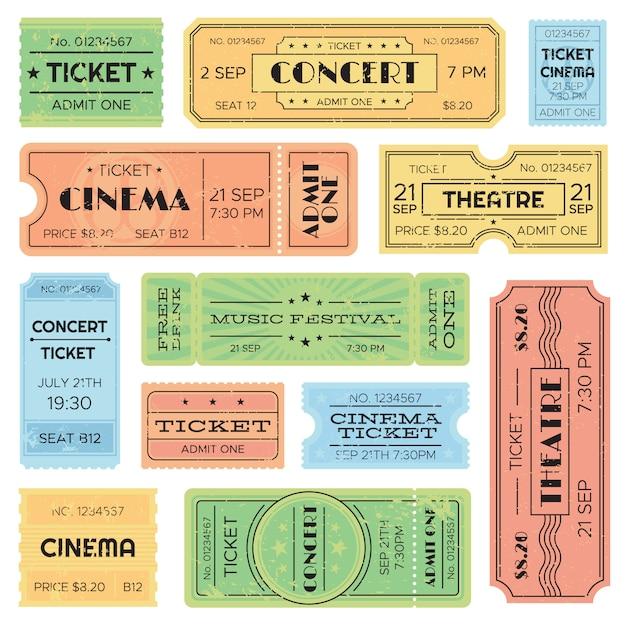 Vintage admitiu cinema, passe de festival de música, bilhete de trem. Vetor Premium