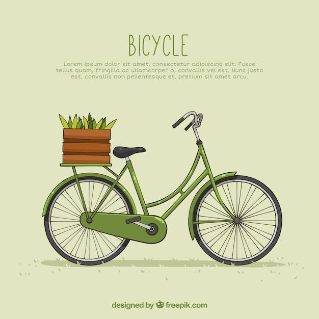 Vintage bicicleta com cesta e vegetais Vetor grátis
