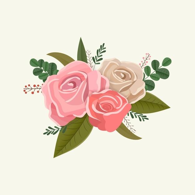 Vintage bouquet floral de rosas Vetor grátis