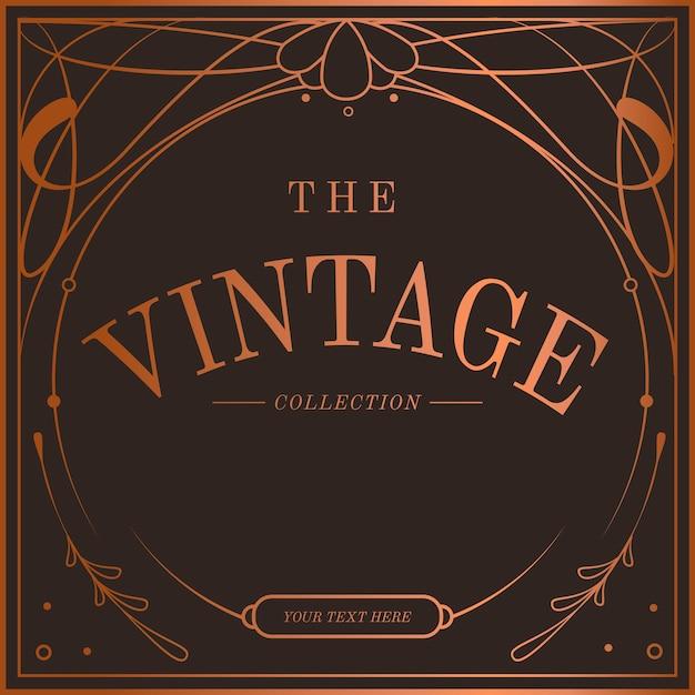 Vintage bronze art nouveau distintivo vector Vetor grátis