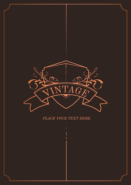 Vintage bronze art nouveau vetor de convite de casamento Vetor grátis