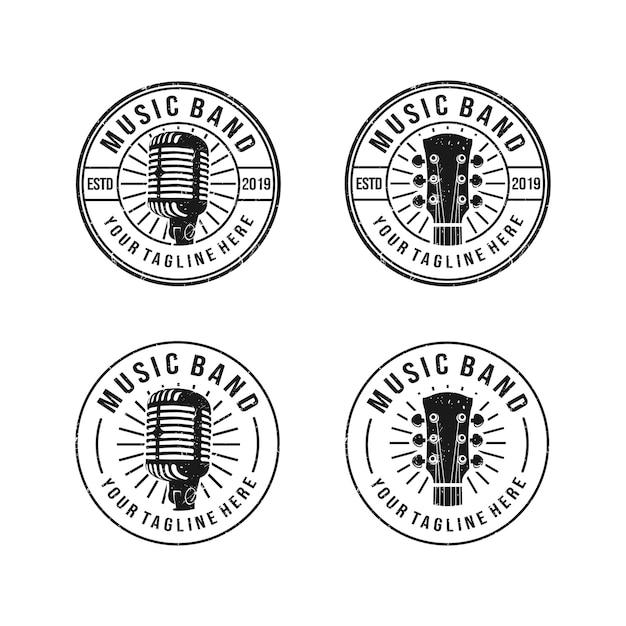 Vintage, clássico, logotipo grunge para banda de música com microfone e guitarra objeto Vetor Premium