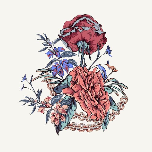 Vintage com rosas, correntes e flores silvestres cartão Vetor Premium