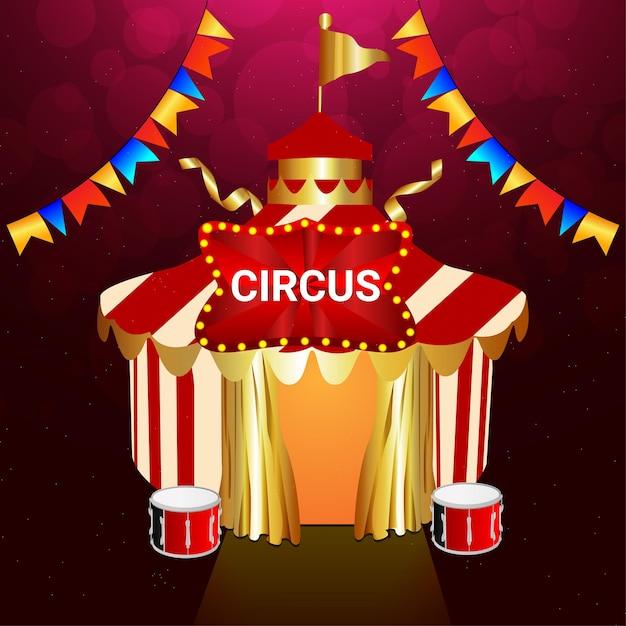 Vintage de circo com tenda Vetor Premium