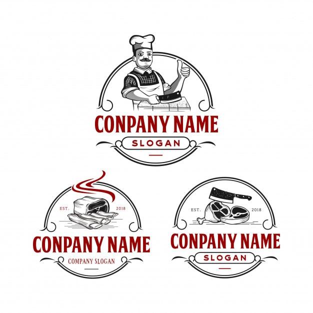 Vintage de logotipo de açougueiro Vetor Premium