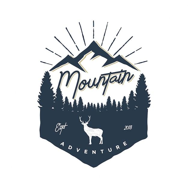 Vintage de logotipo de aventura de montanha Vetor Premium