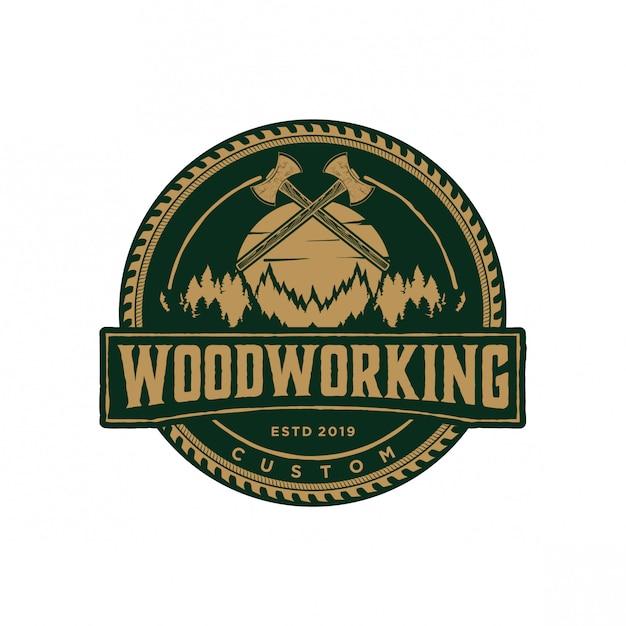 Vintage de logotipo de madeira Vetor Premium