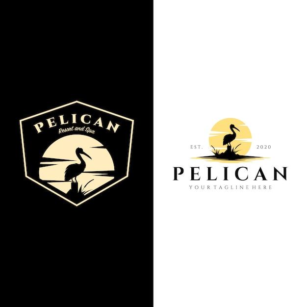 Vintage de logotipo de pássaro pelicano com design de ilustração de fundo de sol Vetor Premium