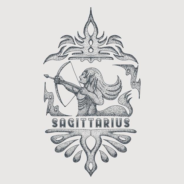 Vintage do zodíaco sagittarius Vetor Premium