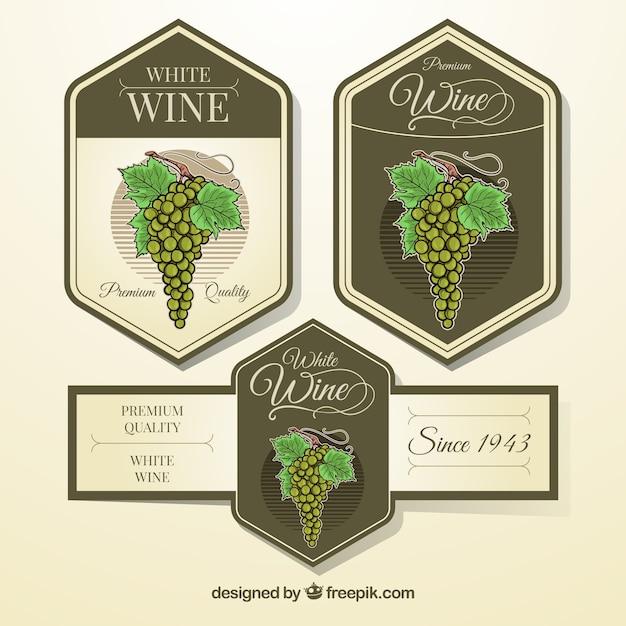Vintage, etiquetas, cachos, uvas Vetor grátis