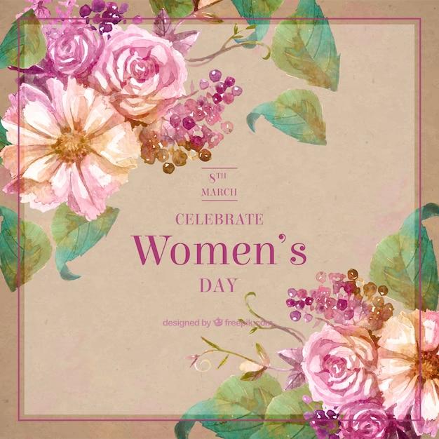 Vintage flores da aguarela de fundo para o dia da mulher Vetor grátis