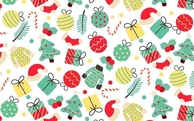 Vintage handdrawn seamless pattern com elementos de natal Vetor grátis