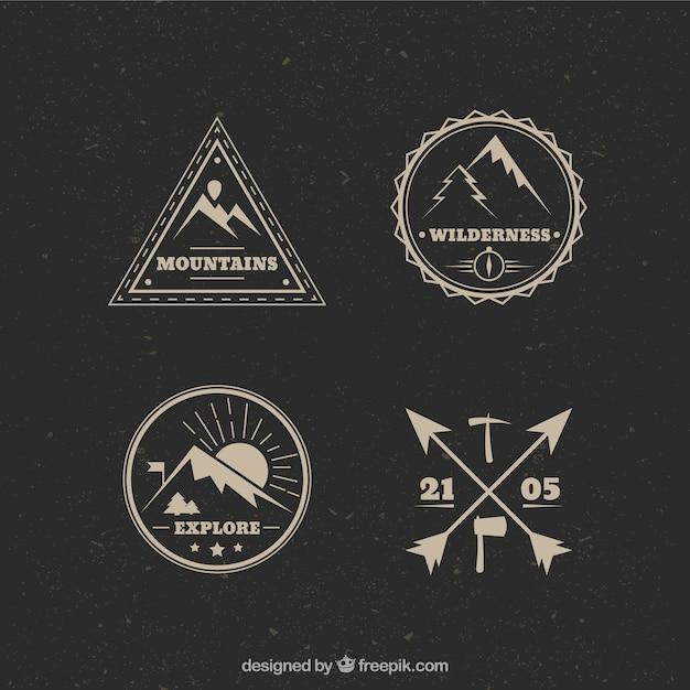 Vintage logos alpinismo Vetor grátis