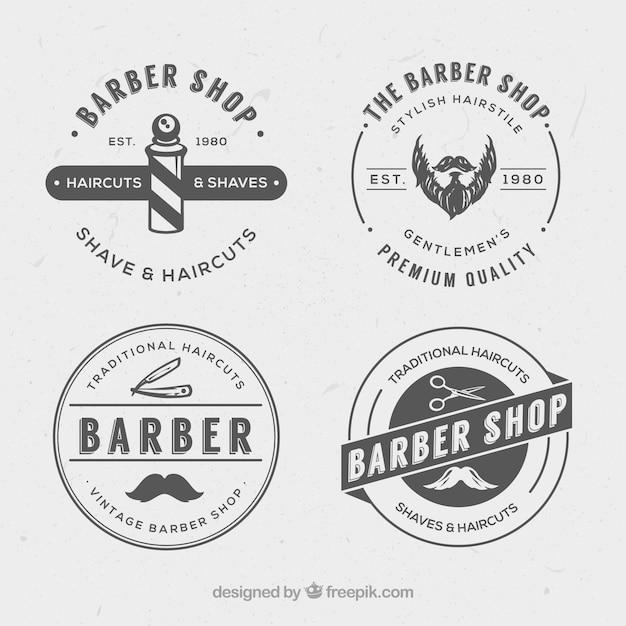 Vintage logos barbearia Vetor grátis