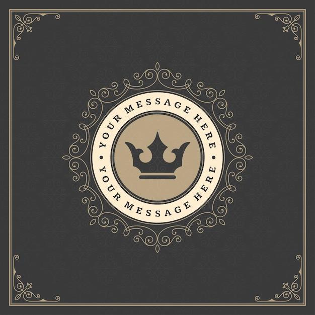 Vintage logotipo dourado elegante floresce ornamentos Vetor Premium