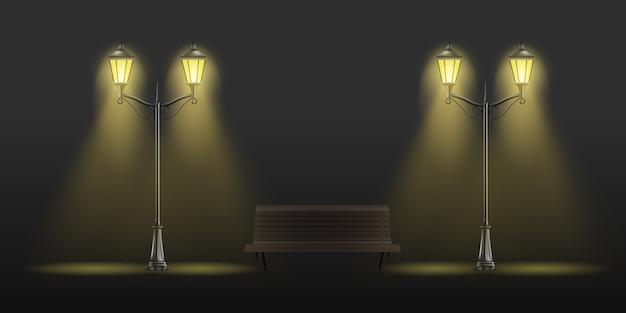 Vintage luzes de rua brilhando com luz amarela e banco de madeira Vetor grátis