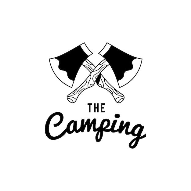 Vintage o vetor de design de texto de logotipo de acampamento Vetor grátis