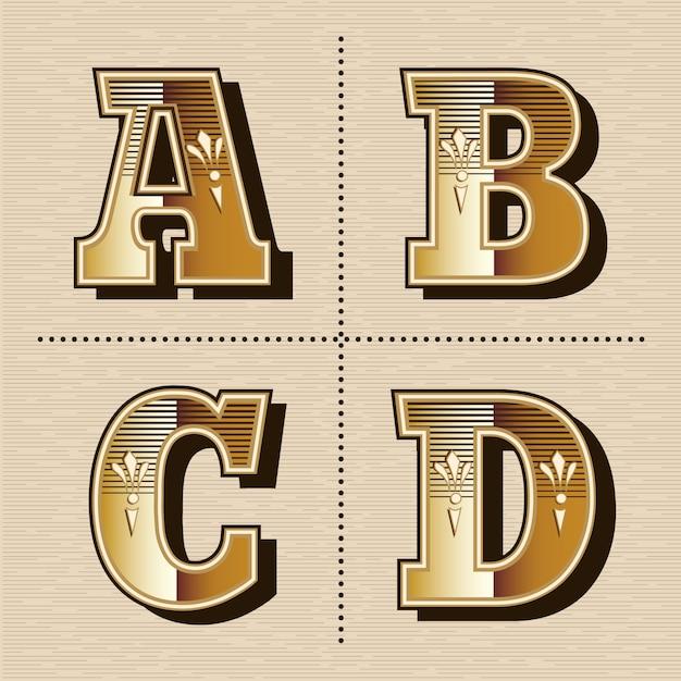 Vintage ocidental alfabeto letras fonte design vector ilustração (a, b, c, d) Vetor Premium