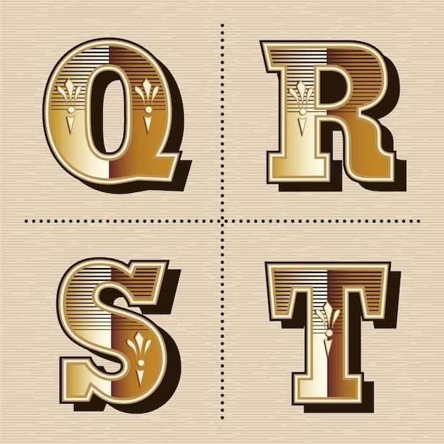 Vintage ocidental alfabeto letras fonte design vector ilustração (q, r, s, t) Vetor Premium