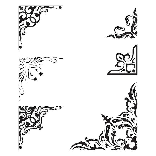 Vintage ornament frame elementos decorativos de borda de canto Vetor Premium
