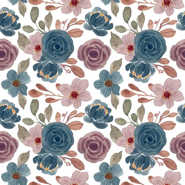 Vintage padrão com aquarela floral Vetor Premium