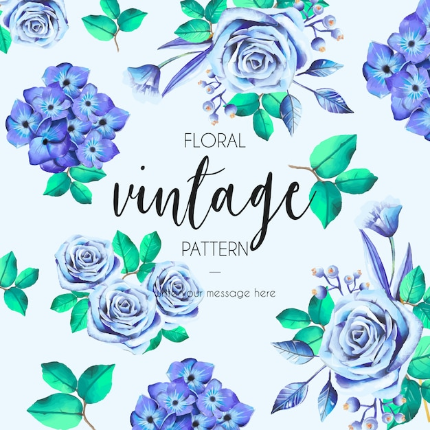Vintage padrão com rosas azuis Vetor grátis