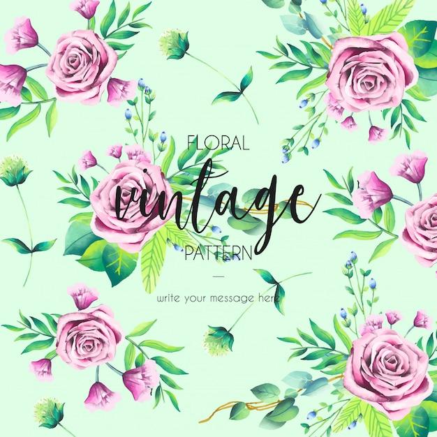 Vintage padrão com rosas cor de rosa Vetor grátis