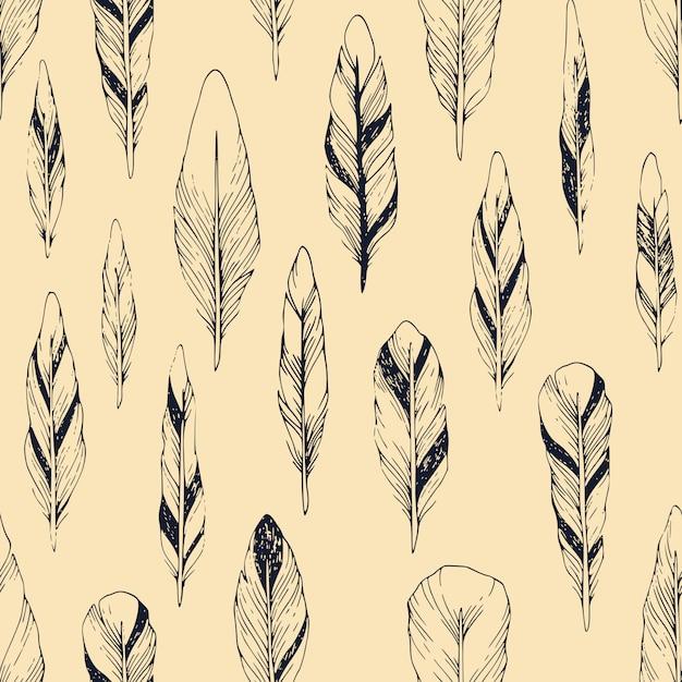 Vintage padrão sem emenda com penas desenhadas à mão Vetor Premium