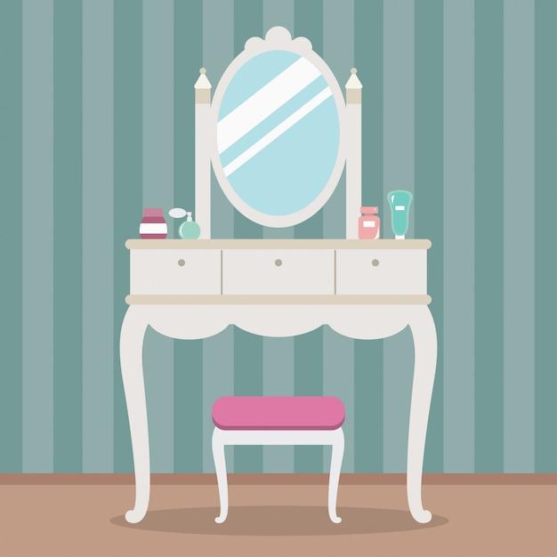 Vintage penteadeira com espelho, mesa, cadeira e cosméticos. ilustração em vetor estilo simples Vetor Premium