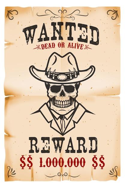 Vintage queria modelo de cartaz com fundo de textura de papel velho. crânio de vaqueiro tema oeste selvagem. ilustração Vetor Premium