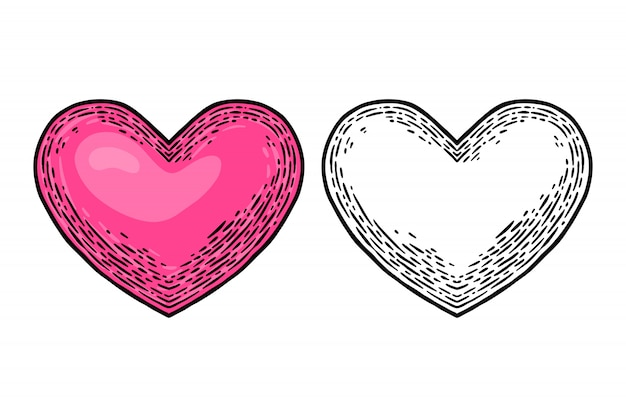Vintage retrô coração isolado ilustração vetorial elemento de design. Vetor Premium