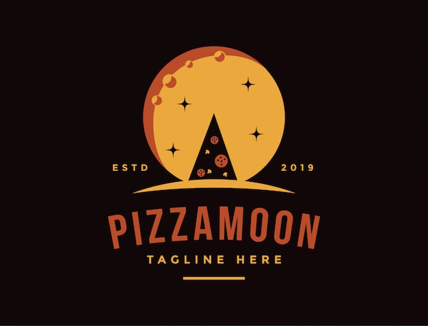 Vintage retrô logotipo de pizza e a noite da lua Vetor Premium