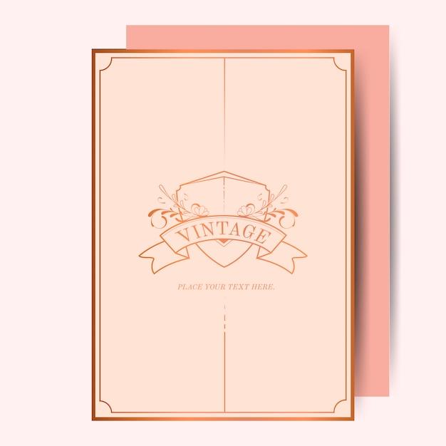 Vintage rosa ouro art nouveau casamento convite maquete vector Vetor grátis