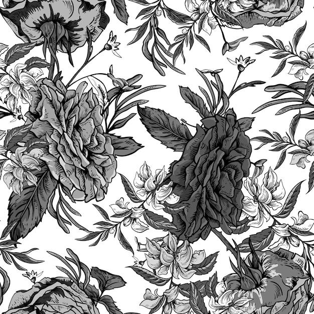 Vintage rosas e flores silvestres sem costura padrão Vetor Premium