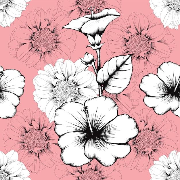 Vintage sem costura padrão lilly e hibisco flores abstrato rosa pastel fundo Vetor Premium