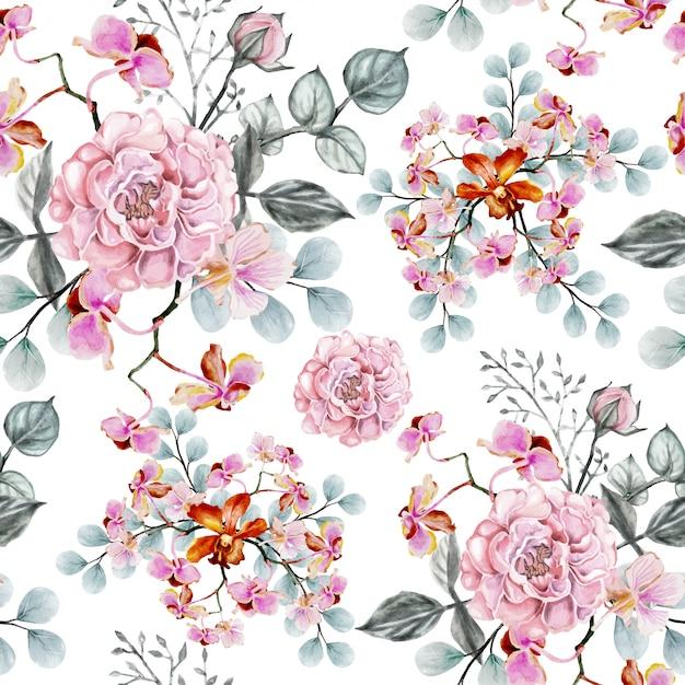 Vintage sem emenda de rosa das flores do teste padrão. Vetor Premium