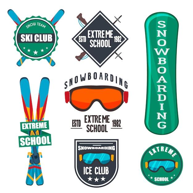 Vintage snowboard ou emblemas de esportes de inverno. Vetor Premium