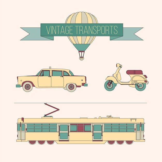 Vintage transporta pacote Vetor grátis
