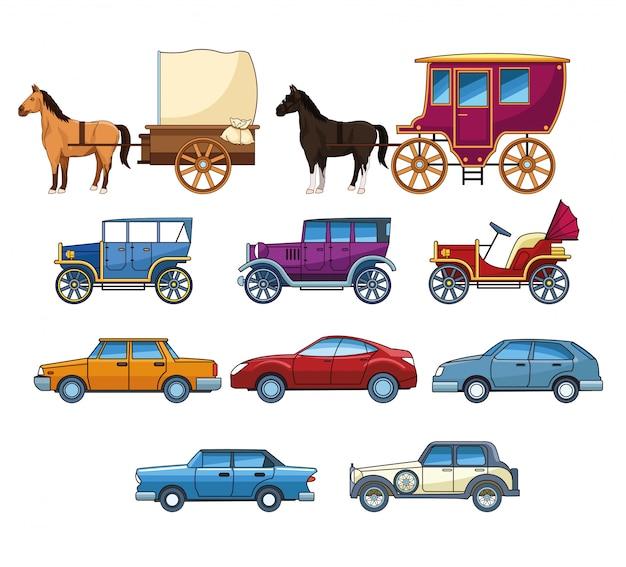 Vintages classec e carros modernos com charretes Vetor Premium